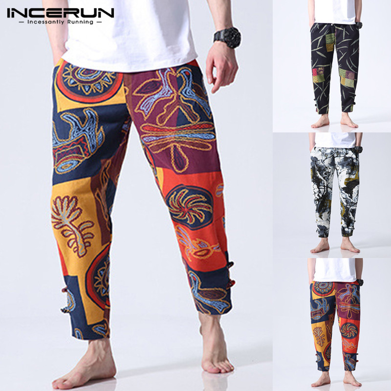 Men Pants Trousers Wide-Legs Baggy-Button Ethnic-Style Ankle-Length Loose Floral Casual