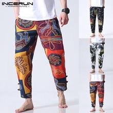 INCERUN-Pantalones con estampado Floral de etnia para hombre, pantalones de piernas anchas informales para Fitness, ropa informal de algodón, pantalones bombachos, Joggers9