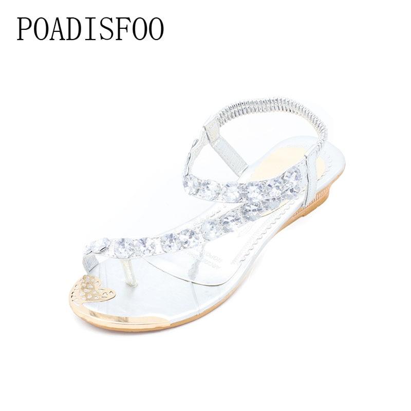 цены POADISFOO 2018 Crystal Sandals Gold Sliver sandals women flat sandals toe sandals Bohemia fashion women 's shoes .HYKL-8809-1