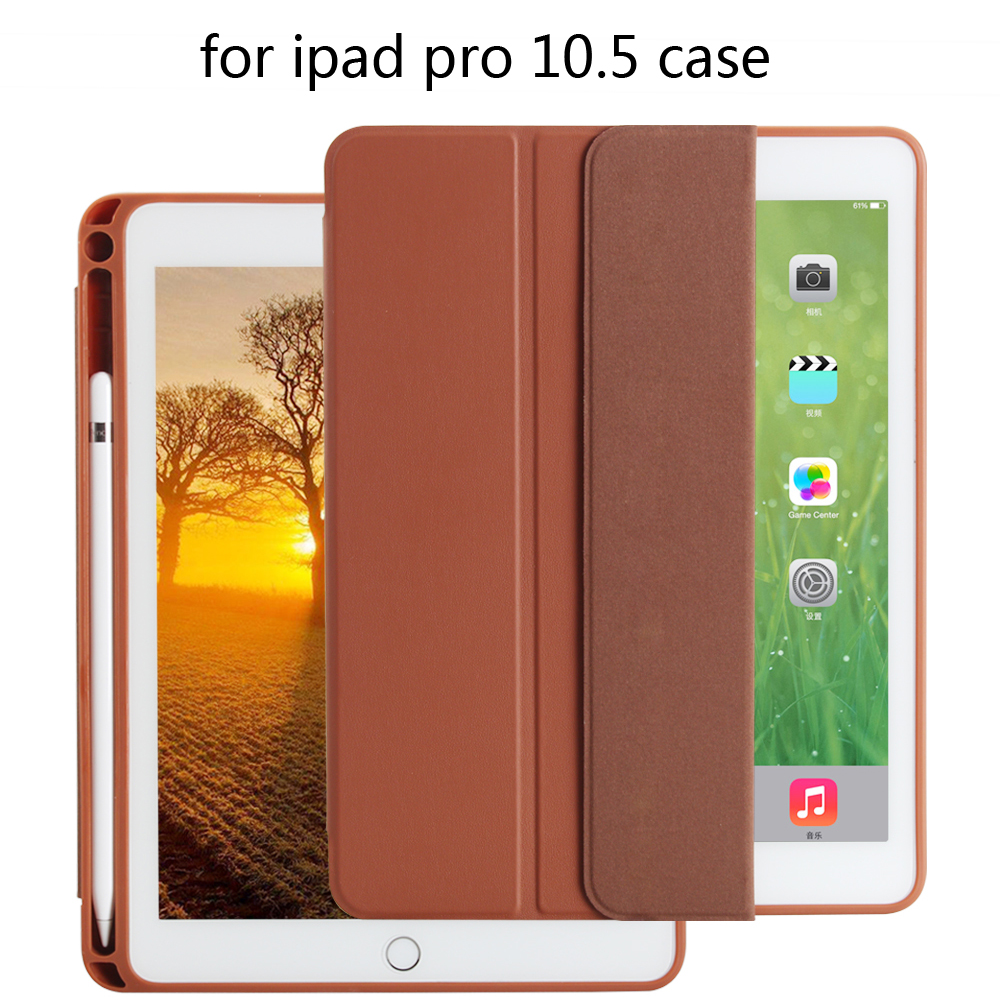For iPad Pencil Case PU Leather Slim Smart Cover With pen slot Auto Sleep/Wake For Apple iPad Pro 10. 5 inch 2017 Release for apple ipad pro 10 5 case 2017 new pu leather slim smart cover w pencil holder wake sleep function for ipad pro 10 5 case