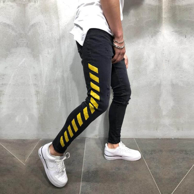 Men's Skinny Black Jeans Yellow Side Stripes Hip Hop Streetwear Raw Edge Ripped Skinny Printed Street Lightweight Cotton Jeans