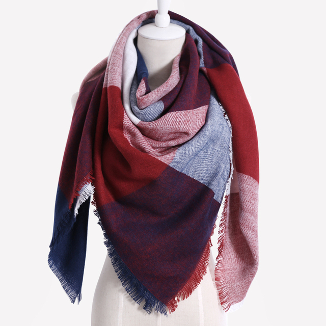 766ec8cd89e8 2018 Winter Design (1 pieces   lot) 100% Acrylic Luxury Brand Women s Scarf  Square Plaid Tassel High-quality Fashion Shawl