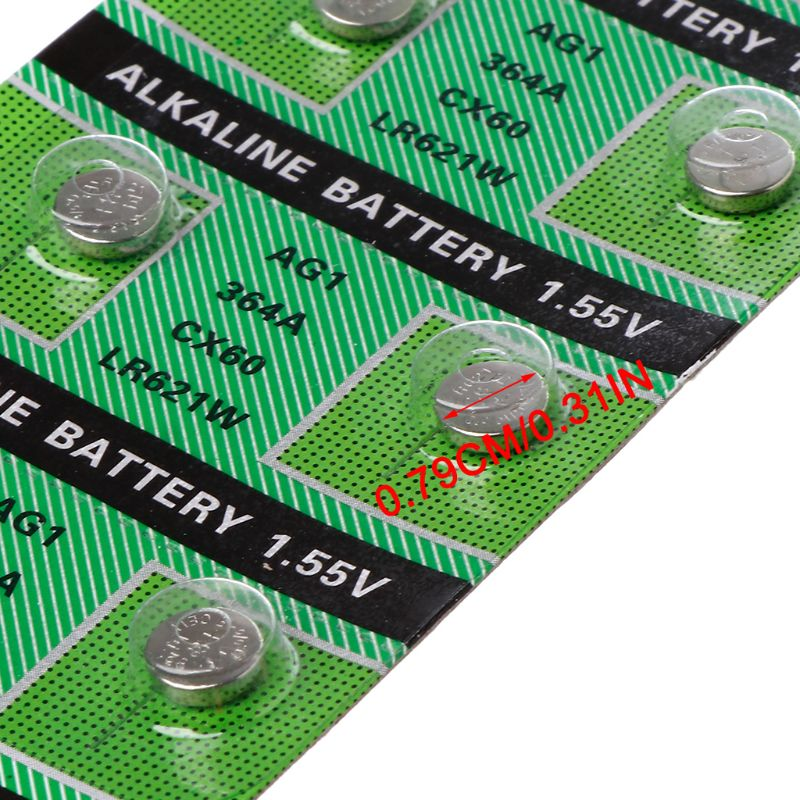 10PCS Watch Battery AG1 1.55V 364 SR621SW LR621 621 LR60 CX60 Alkaline Button Coin Cell Batteries