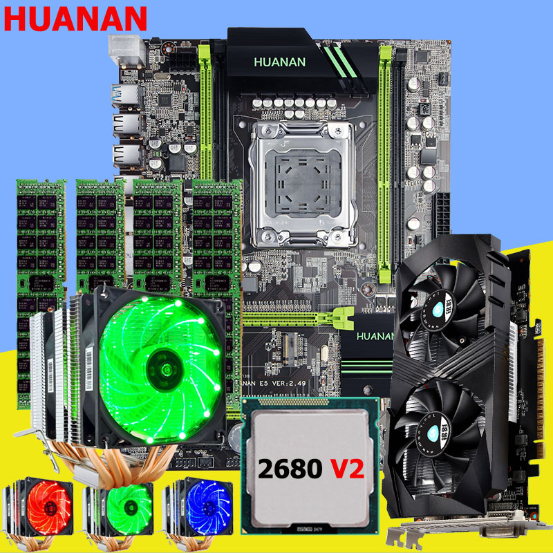 HUANAN X79 motherboard CPU RAM video card GTX1050Ti 4G Xeon E5 2680 V2 RAM 32G DDR3 cooler 6 heatpipes smart temperature control huanan x79 motherboard diy set cpu xeon e5 2680 v2 ram 32g 4 8g ddr3 recc 500watt psu video card gtx1050ti 240g sata3 0 ssd
