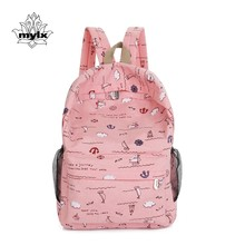 Fresh printing canvas backpack 100% cotton preppy style school backpack for girls lightweight green book bag leisure and travel  все цены