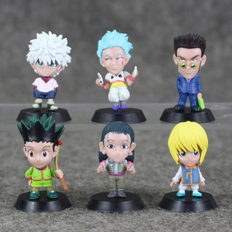 6Pcs lot 5cm Hunter X Hunter Gon Freecss Killua Zoldyck Kurapika Leorio Hyskoa Illumi Figure Toy