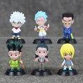 6Pcs/lot Hunter X Hunter Gon Freecss Killua Zoldyck Kurapika Leorio Hyskoa Illumi Figure Toy 5cm