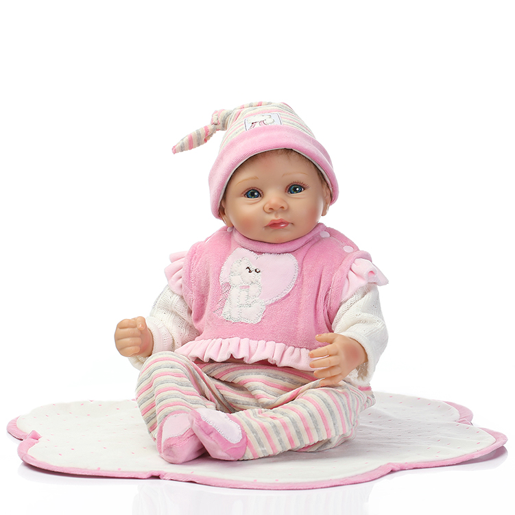 50-55CM SOFT Silicone Reborn Baby Dolls With Bear Handmade Cloth Body Reborn Babies Doll Toys Baby Growth Partners Brinquedos partners cd