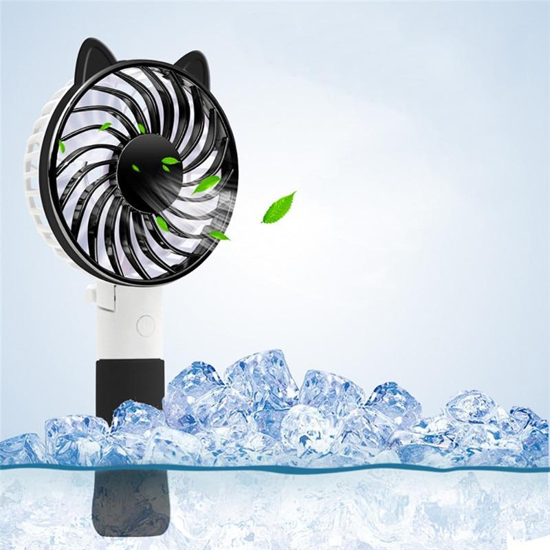 ISHOWTIENDA 2018 No Pedestal Handheld USB Fox Ear Fan Personal Cooling Rechargeable Portable Small Desk Desktop USB Cooling