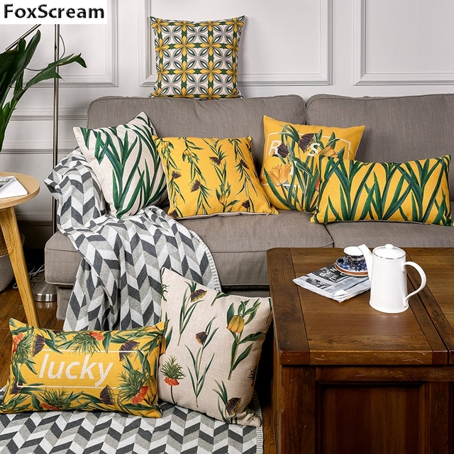 Green Tropical Decorative Throw Pillow Case Yellow Geometric Cushions Home Decor Seat Chair Cushion For Sofa