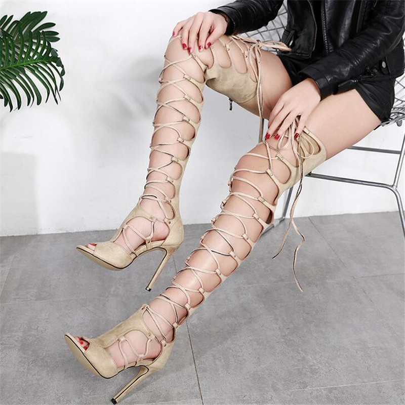 2018 Fashion Women Summer Peep Toe Gladiator Boots Over the Knee Thigh High Botas Cross-tied Lace-up Boots 11.5CM High Heels women summer boots over the knee boots peep toe cross strap thigh high botas slingback high heel thin heels women shoes boots