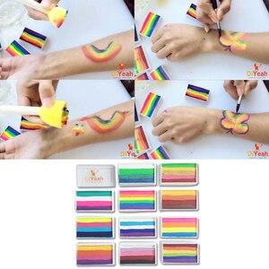 Image 4 - Pro Rainbow pintura corporal para maquillaje, pigmento de 30g/juego, serie Multicolor, arte corporal para Halloween, pintura facial metalizada UV de neón