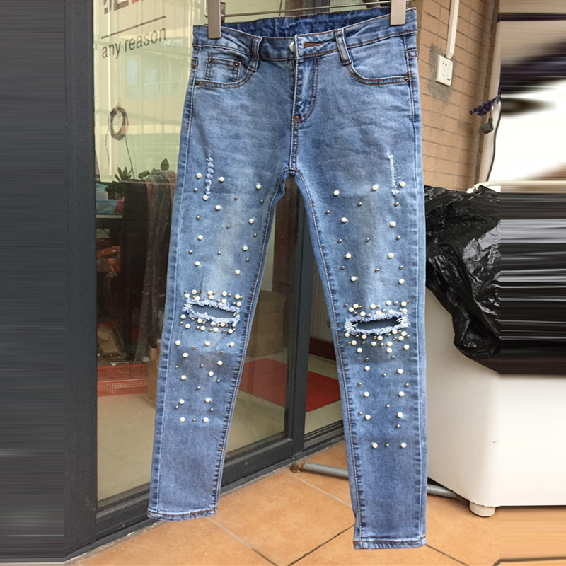 Boyfriend Jeans for Women 2017 New Fashion Mom Bead Diamond Burr Holes Jeans Female Mid Waist Denim Ripped Jeans Femme Pants boyfriend holes ripped jeans for women autumn new fashion denim capris jeans mid waisted soft pencil cropped casual pants mujer