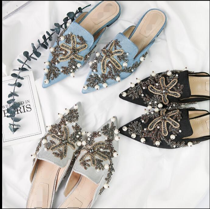 high quality INS summer woman Sequin Starfish Embroidery Slacker slippers pointed toe out door pearls beading flat Mules slides pointed toe flat mules