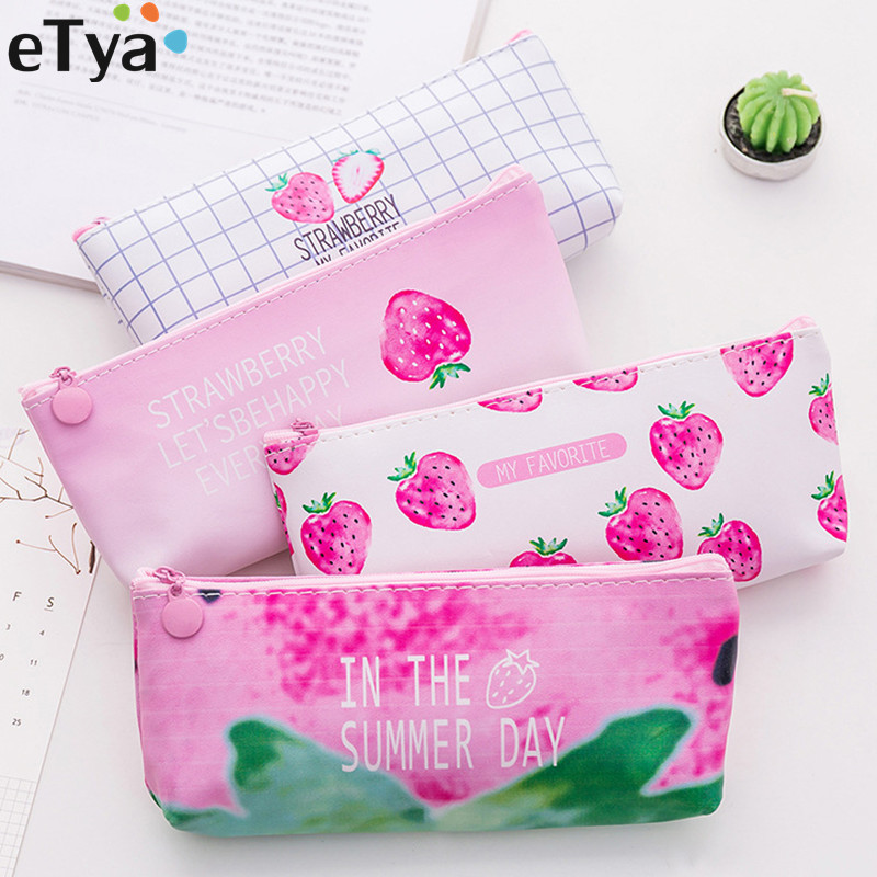 ETya Women Makeup Bag Pouch Strawberry PU Leather Travel  Lipstick Oil Cosmetic Bags Organizers Student School Pencil Bag Case