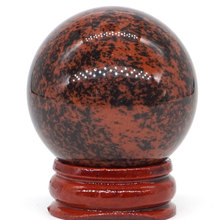 Natural Red Mahogany Obsidian Ball Mineral Quartz Sphere Hand Massage Crystal Healing Feng Shui Home Decor Accessory 40mm