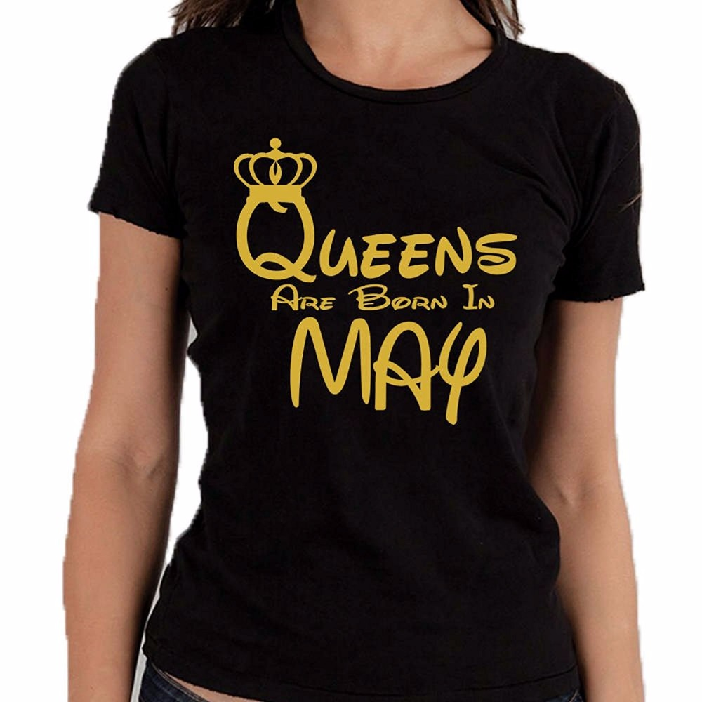 Black t shirt gold print - Woman Summer Short Sleeves Casual Top Tee 100 Cotton Shirt Queens Are Born In May