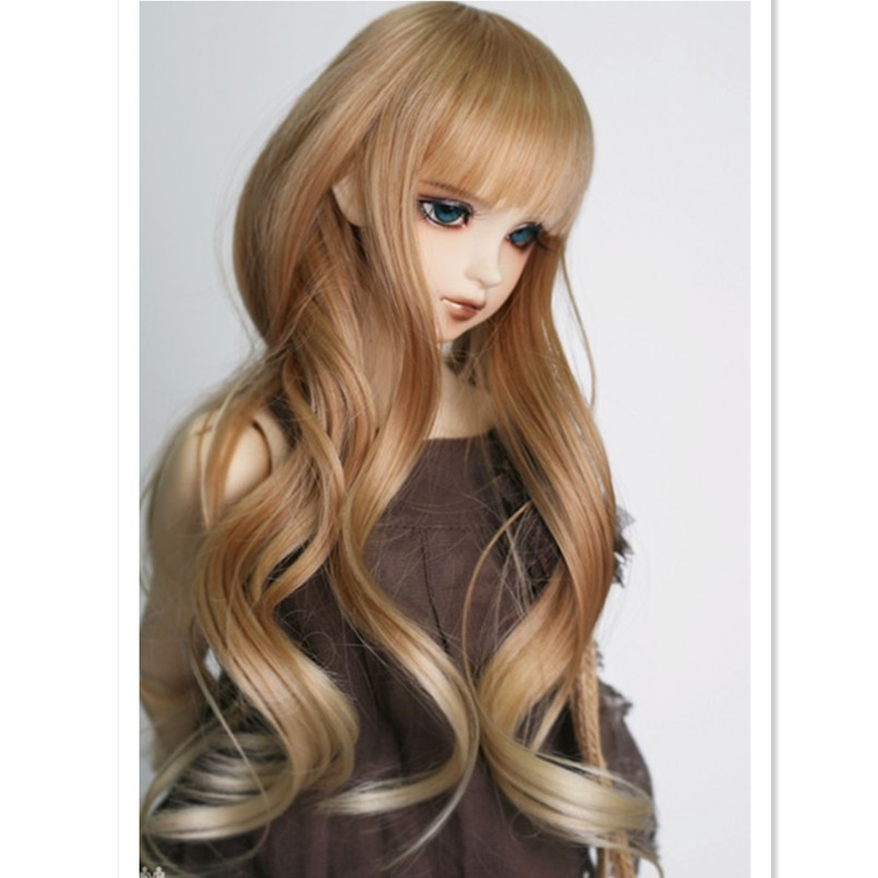 BJD Wig 1/4 1/3 Doll Wigs for Dolls,High Temperature Wire Long Wavy Curly Hair for Dolls Accessories Many Color for Choice fashion black hair extension fur wig 1 3 1 4 1 6 bjd wigs long wig for diy dollfie