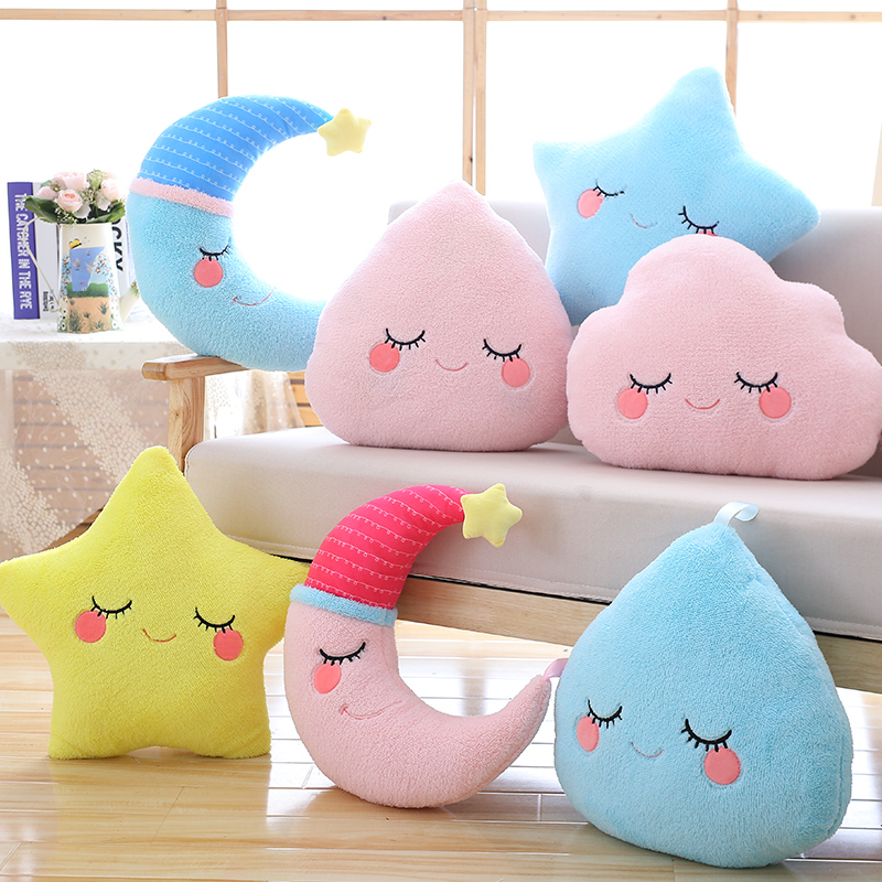 Cute Sky Series Plush Baby Toys Stuffed Soft Cartoon Cloud Water Moon Star Plush Pillow Sofa Cushion For Kids Birthday Gift