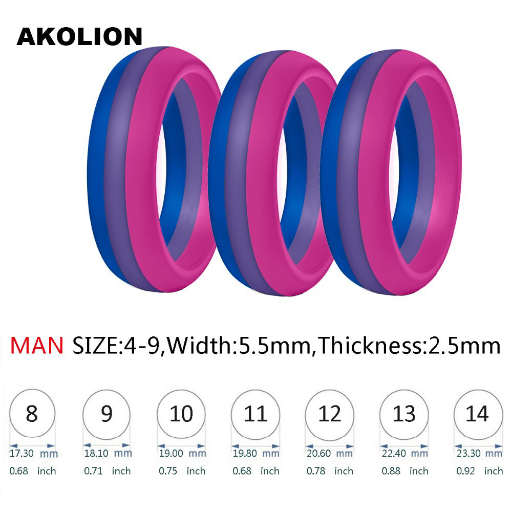 3PCS a lot Man <font><b>Bisexual</b></font> Pride <font><b>Ring</b></font> New Silicone Wedding Round Solid Environmental Cool Comfortable <font><b>Rings</b></font> SR-0001 image
