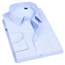 Высокое качество, не гладильная Мужская одежда, рубашка с длинным рукавом, новинка, солидные мужские рубашки размера плюс, деловые рубашки белого и синего цвета