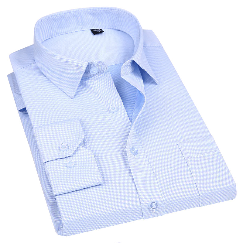 High Quality Non ironing Men Dress Long Sleeve Shirt 100% Cotton 2019 New Solid Male Plus Size Fit Business Shirts White Blue