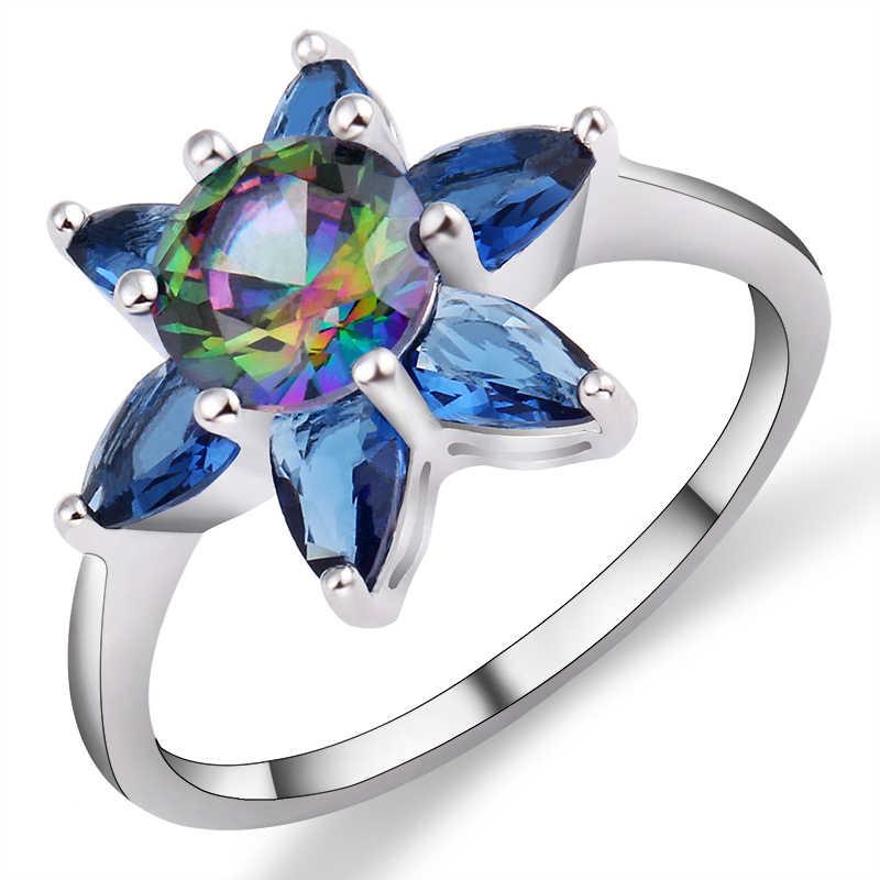 Misterioso mar verde azul colores gema CZ anillos flor diseño 5 hojas anel Multicolor Zircon cúbico accesorios anillos de boda