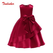 купить Summer New Kids Girls Princess Elegant Bow-Knot Dresses Ball Gown Party Dress Prom Sleeveless Birthday Party Dress Vestido дешево