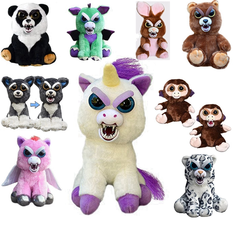 20CM Big Size Feisty Pets Stuffed Animal Plush Toy Scary Cute Dog Dragon Bear Prank Rainbowbarf Pegasus Squeez stuffed animal 44 cm plush standing cow toy simulation dairy cattle doll great gift w501