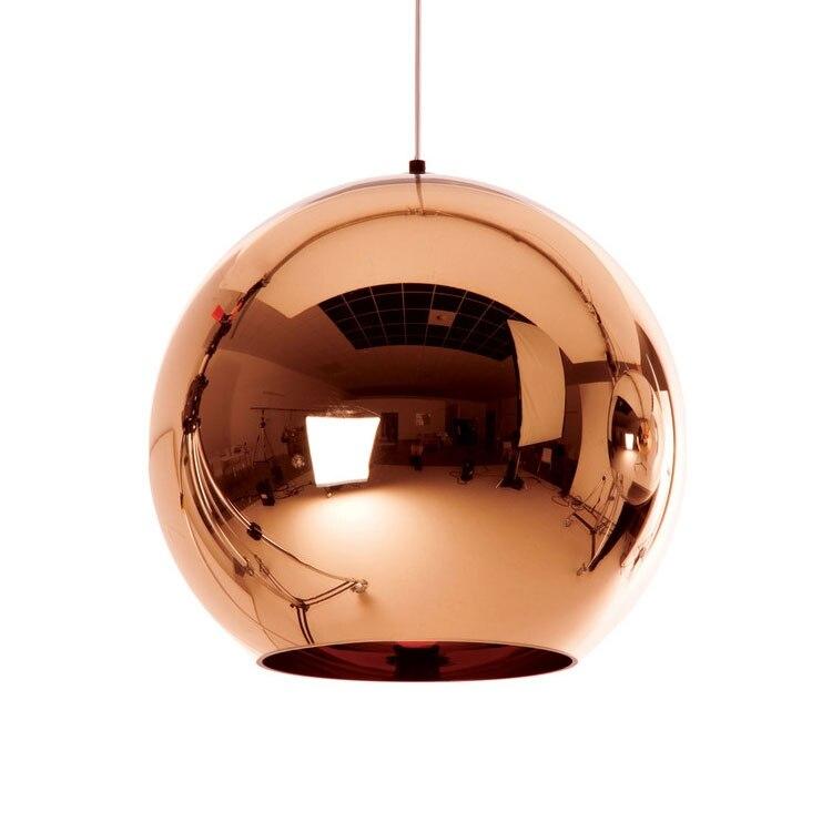 Nodic Rose Golden Plated Polished Glass Ball Cord Hanging E27 Socket Pendant Light for Living Room Bedroom Loft Bar Cafe in Pendant Lights from Lights Lighting
