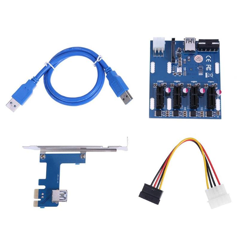 Mini ITX to External 4 PCI E Adapter Multiplier Card with 6Pin Power/SATA Port PC PCI Express to 4 PCIe 1x Extender Riser Card