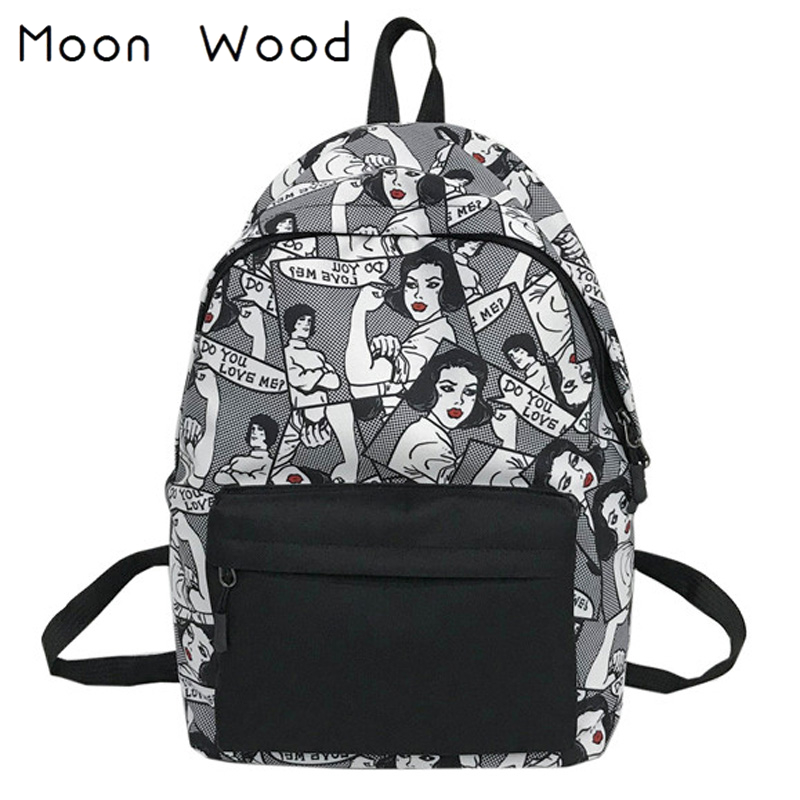 Moon Wood Harajuku Style Cartoon Character Printing Backpack Street Boys Backpack Large Students Travel Shoulder Bag School Bags