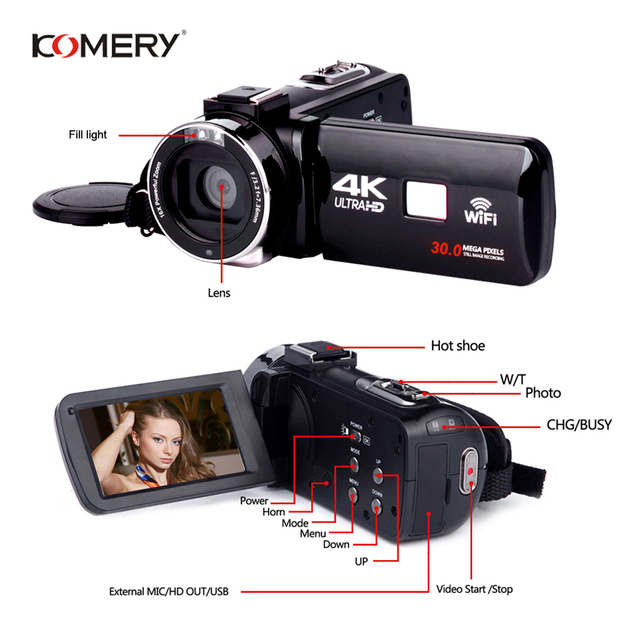 Genuine KOMERY 4K Video Camera Wifi Night Vision 3.0 Inch HD Touch Screen Time-lapse Photography Camcorders Three-year warranty 3
