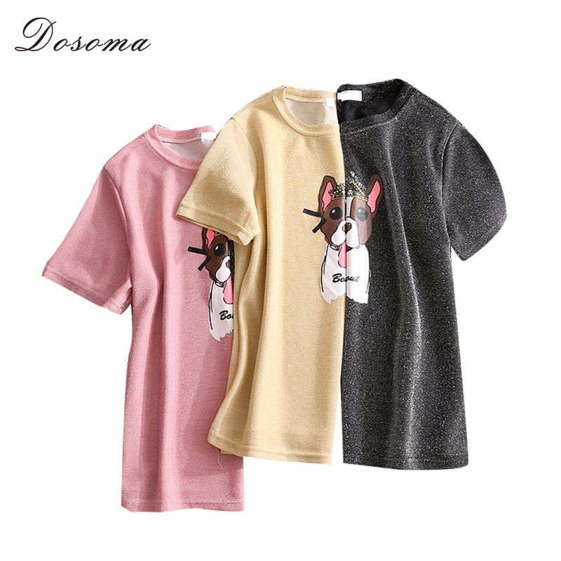b9b4c58c DOSOMA Bright Silk T Shirt Women Summer 5XL Plus Size Dog Print Tshirt  Black Casual Loose