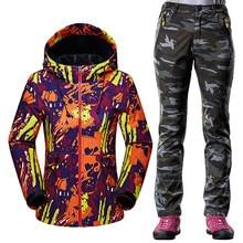 ФОТО autumn winter softshell sportswear suit women outdoor windproof waterproof hiking fleece jacket + warm fleece pants 2pcs sets