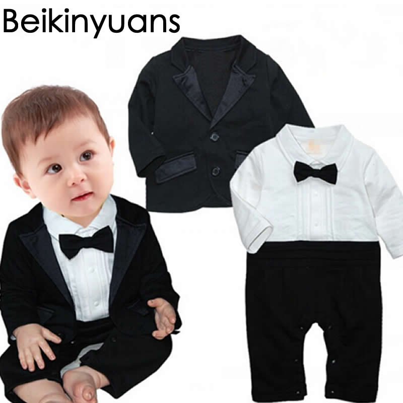 Spring Baby Boy Gentleman Set Long Sleeve Suit Baby Jersey + Jacket 2pcs