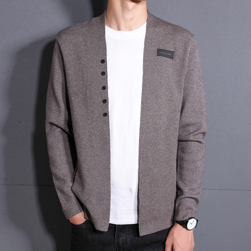 2019 Spring And Autumn Knitted Men's Cardigans Khaki Black Long Sleeve Mens Jumpers Cardigan Hombre Male