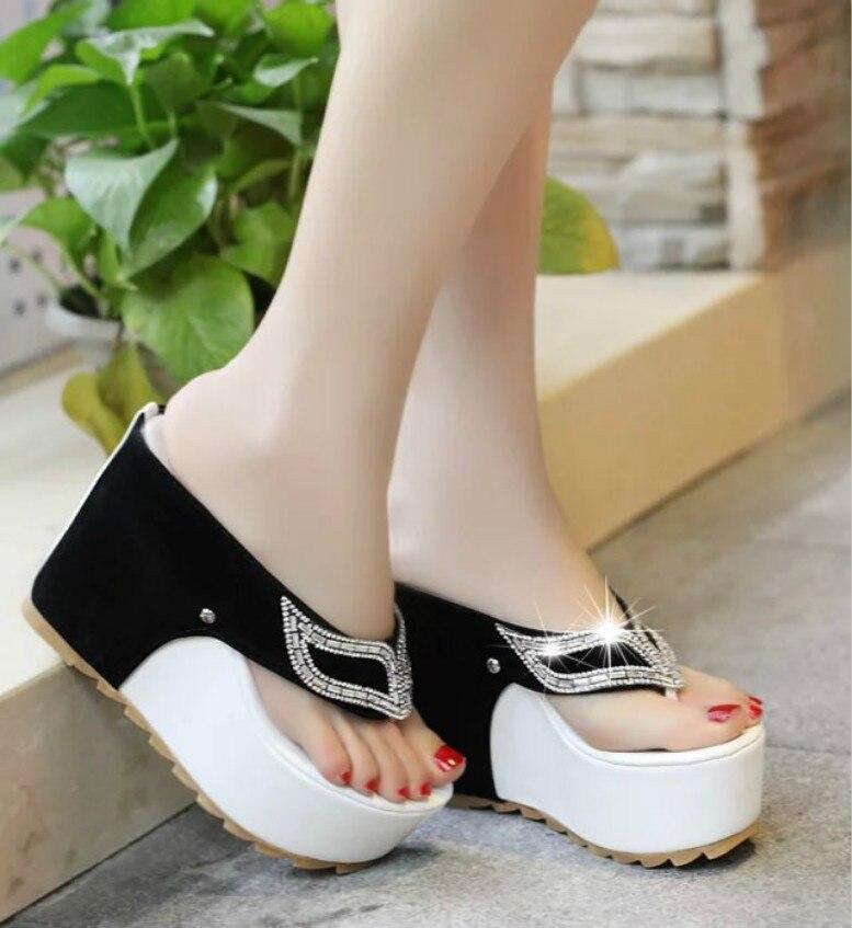 Beach Sandals Wedges Platform Flip-Flops Summer-Shoes Rhinestone High-Heels Fashion Women's