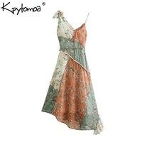 Vintage Chic Floral Print Chiffon Midi Dress Women 2019 Fashion Adjustable Strap Ruffles Beach Dresses Casual Vestidos Mujer