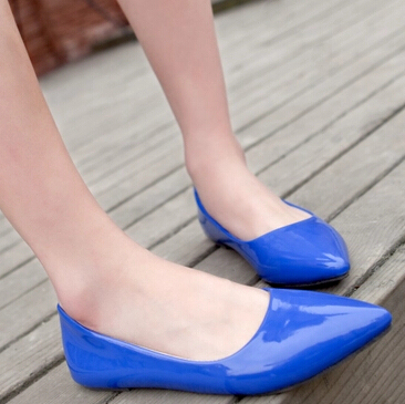 2015 New Fashion Simple Patent Leather Pointrd Toe Ballerina Flat Shoes For Women Shallow Mouth Loafer Work Shoes Female