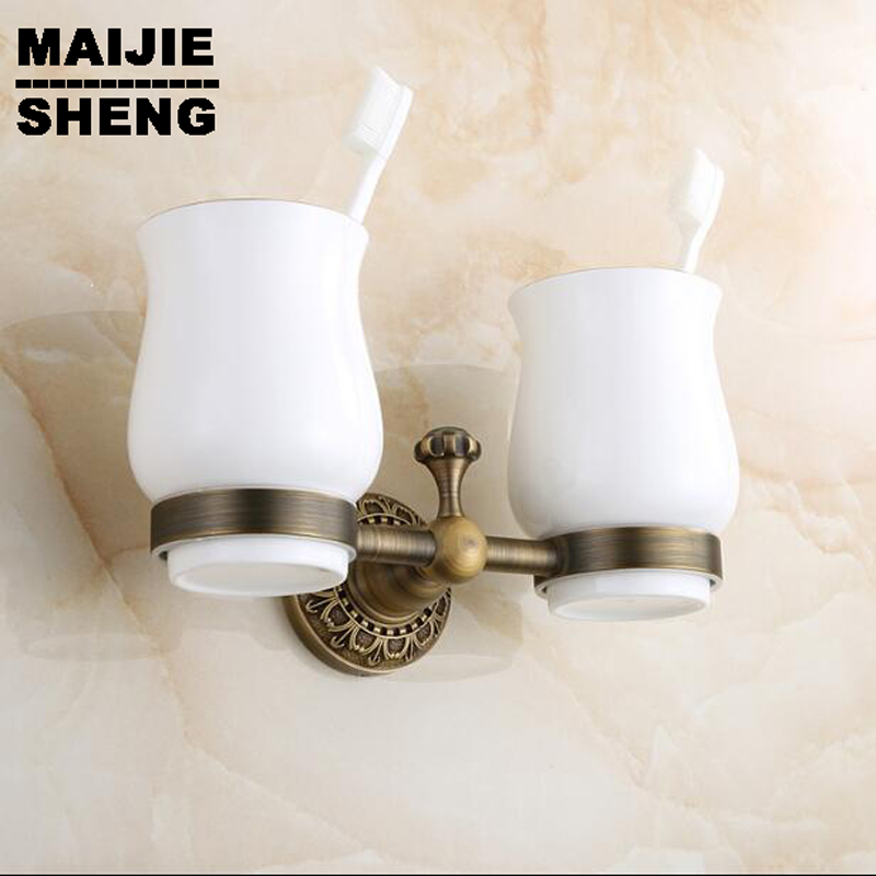 Double tumbler cup holder toothbrush holder bathroom accessory sanitary ware bathroom furniture toilet Brass antique brown image