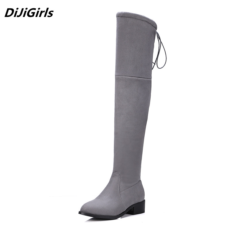 Women stretch Faux Suede slim over the knee boots pointed toe low-heel lace-up thigh high boots woman Black Gray long boots 10.5 nayiduyun new fashion thigh high boots women faux suede point toe over knee boots stretchy slim leg high heels pumps plus size