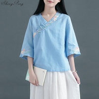 Linen Chinese Traditional Top Qipao Shirt for Woman Cheongsam Style Shirt Chinese Blouse for Ladies G174