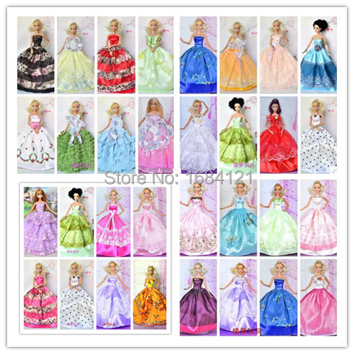 2016 new 30items lot Fashion Beautiful shoes wedding dress for barbie doll evening dress for barbie