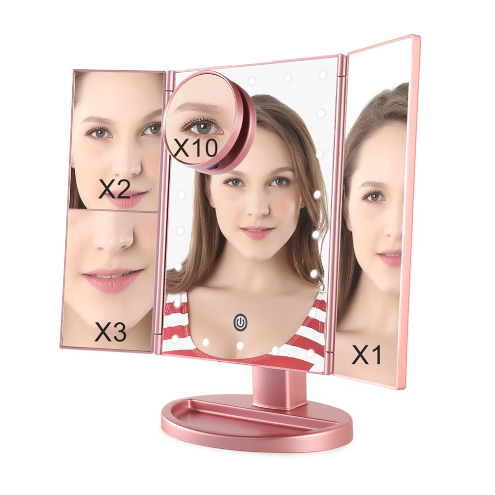 COSCELIA Makeup Mirror Touch Screen With LED Light And 2X/3X/10X Magnifying Mirror With Light Vanity Mirror Tools For Cosmetic