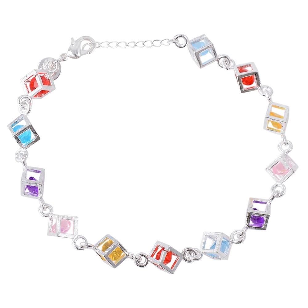 Luxury Austrian Crystal Cubes Bracelet for Women Colorful Fashion Charm Bijoux Bracelets
