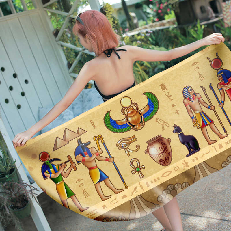 3D Printed Egyptian mural Microfiber rectangle Beach Towel for Adults Child Summer Toalla Yoga Mat T441