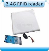 2.4G RFID متكامل القارئ طويلة المدى علامات مجانية + 10 قطعة بطاقة ، longset 0-50 M المدى قارئ ل wiegand26/RS232/RS485