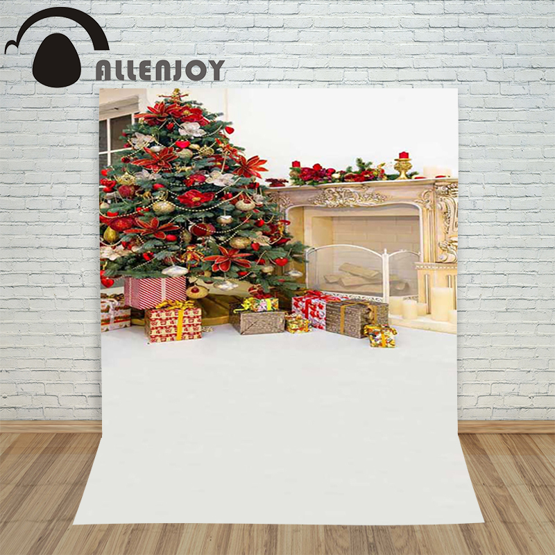 Christmas backdrop photography Allenjoy Fireplace xmas tree gift candle background photographic studio children's camera allenjoy christmas photography backdrop wooden fireplace xmas sock gift children s photocall photographic customize festive