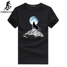 Pioneer Camp Fashion  print wolf pattern casual men t-shirt famous brand 100% cotton loose 305062A